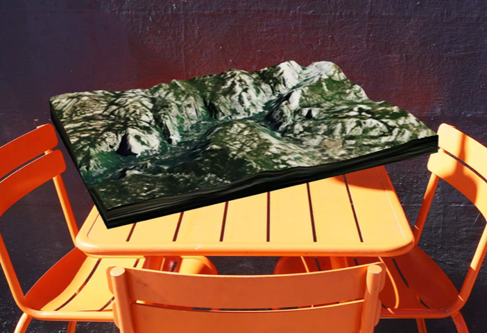 3D landscape, table and three chairs